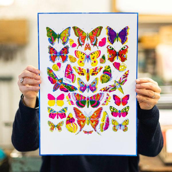 papillons de lumière - histoire naturelle - affiche - poster - letterpress - Lyon - Super Marché noir