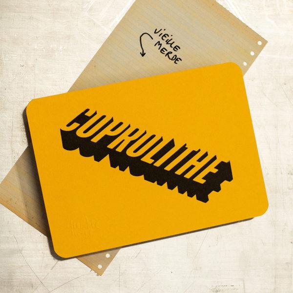 vieille insulte - coprolithe - vieille merde - letterpress lyon - Super Marché noir