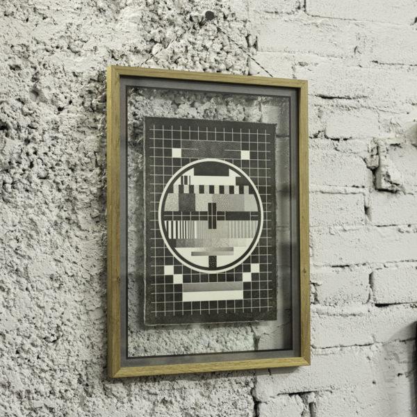 Mire TV Express - affiche letterpress - papier coton - vélin - papier barbé - trame stochastique bitmap - Super Marché noir