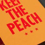keep the peach - garde la pêche - carte letterpress - Super Marché noir