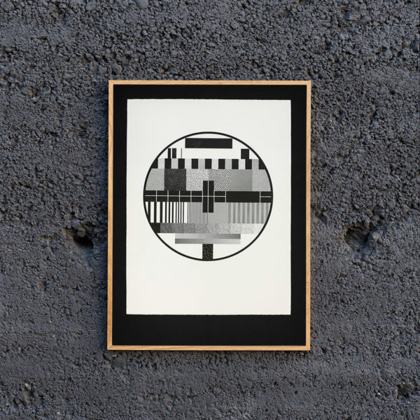 Mire TV - affiche letterpress - papier coton - vélin - papier barbé - trame stochastique bitmap - Super Marché noir