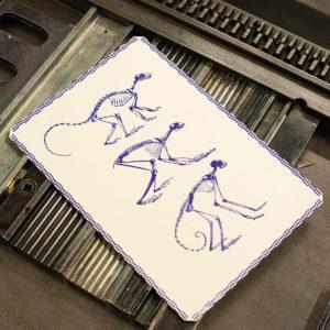 A vos marques - affiche letterpress - Singes - Squelettes - primates - histoire naturelle - museum - super marché noir - letterpress lyon