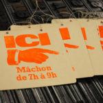 ici mâchon - cochonailles - bouchons de lyon - vieille pancarte - super marché noir - letterpress lyon