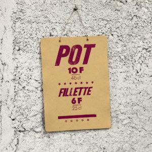 pot lyonnais - cochonailles - bouchons de lyon - vieille pancarte - super marché noir - letterpress lyon