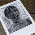 Janet - Psychose Hitchcock - portrait bitmap - affichette letterpress - Super Marché noir