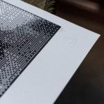 Numérotation à la main - série limitée - Janet - Psychose Hitchcock - portrait bitmap - affichette letterpress - Super Marché noir