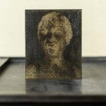 Matrice d'impression - gravure laser - Janet - Psychose Hitchcock - portrait bitmap - affichette letterpress - Super Marché noir