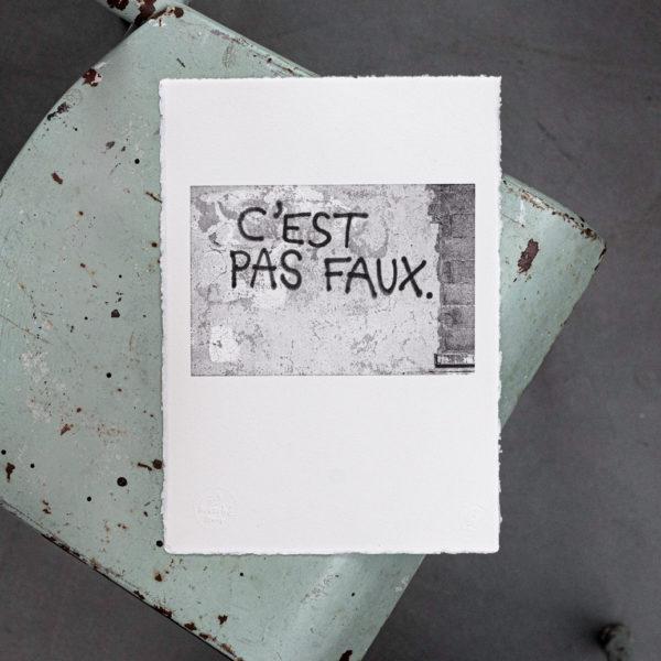 c'est pas faux - fake news - trump - complot - ironie - kaamelott - perceval - streetart - papier velin -bitmap - affichette letterpress - Super Marché noir