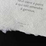 heur-euze-tout-vient-a-point-a-qui-sait-attendre-a-genoux-1-papier-velin-artisanal-érotisme-amour-désir-écriture-parole-libre-letterpress-lyon-super-marché-noir