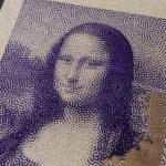 Mona - lisa - joconde - Da Vinci - De Vinci - portrait bitmap - affichette letterpress - Super Marché noir