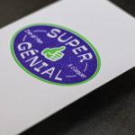 super génial - rien à claquer - pouce - like - thumb -Carte postale letterpress - Super Marché noir