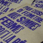poster - fermeture définitive - fermeture administrative - fermeture covid - lieux culturels - concert debout - pléonasme - tautologie - - affichette letterpress - Super Marché noir