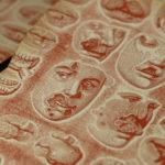 herpès - covid - masques -anatomie - gravure - pancarte letterpress - Lyon - Super Marché noir