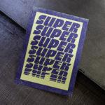 super - extra - giga - superlatif - 3d - filaire - poster - affiche - letterpress - vert fluo - Super Marché noir