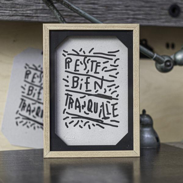 bien tranquille - punchlines - banalités - inutile - dada - ironie - oralité - inclusion - letterpress - Super Marché noir